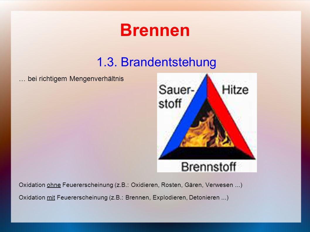 Brennen 1.3. Brandentstehung … bei richtigem Mengenverhältnis