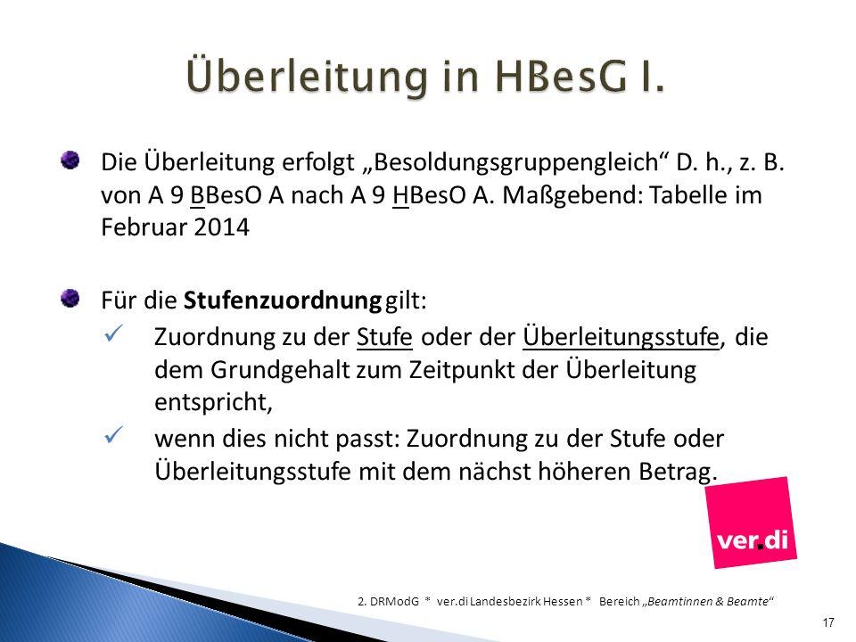Überleitung in HBesG I.