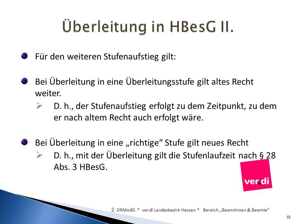 Überleitung in HBesG II.