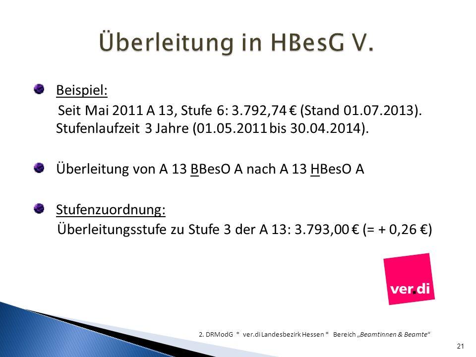Überleitung in HBesG V. Beispiel: