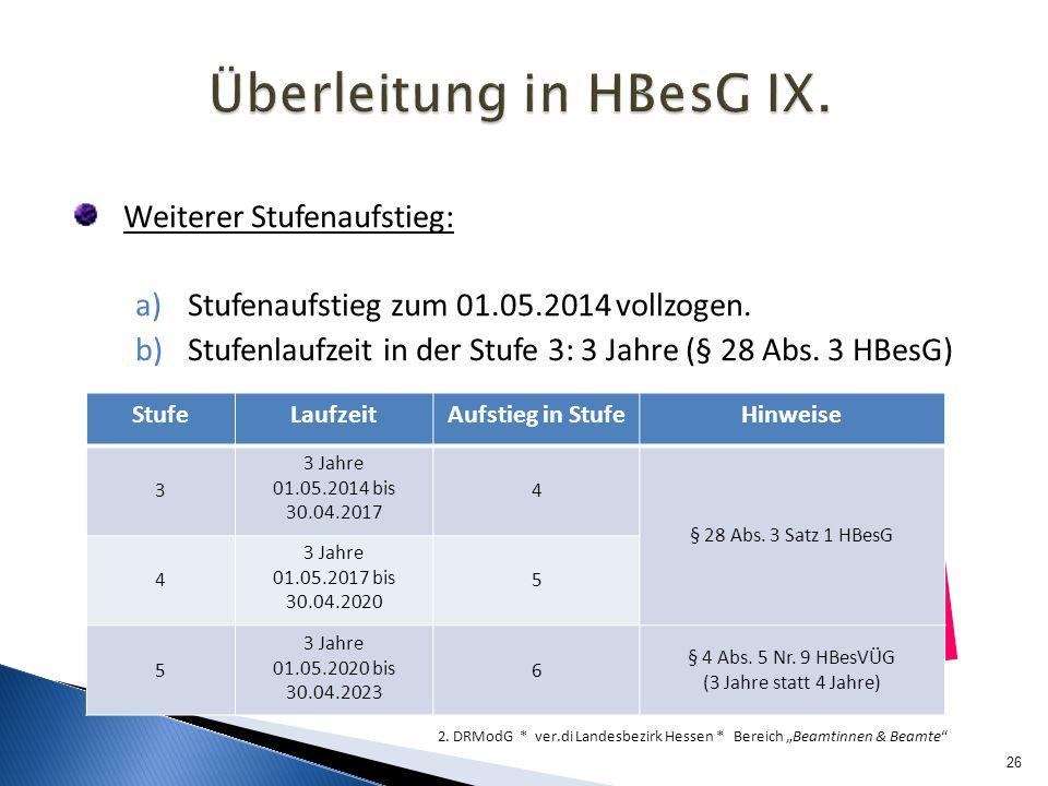 Überleitung in HBesG IX.