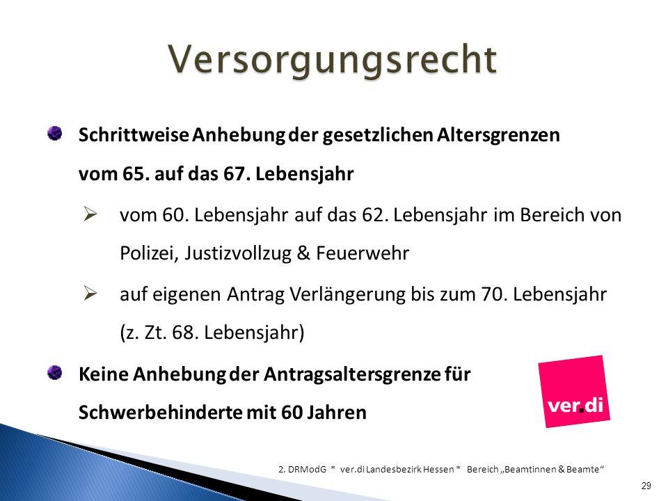 Versorgungsrecht Schrittweise Anhebung der gesetzlichen Altersgrenzen vom 65. auf das 67. Lebensjahr.