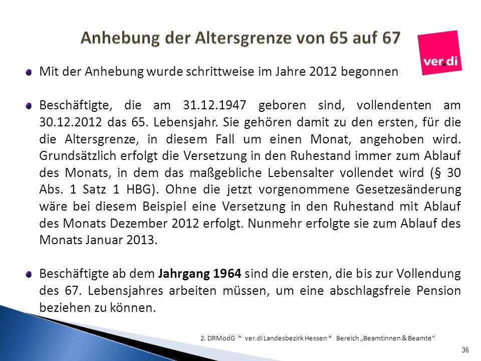 Anhebung der Altersgrenze von 65 auf 67