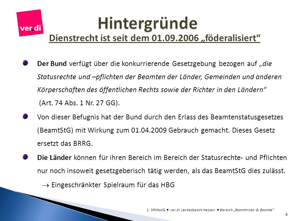 """Dienstrecht ist seit dem 01.09.2006 """"föderalisiert"""