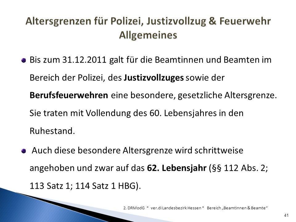 Altersgrenzen für Polizei, Justizvollzug & Feuerwehr Allgemeines