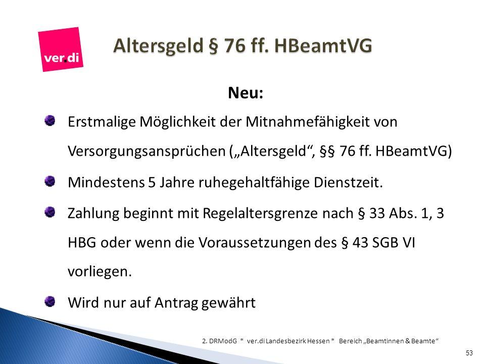 Altersgeld § 76 ff. HBeamtVG