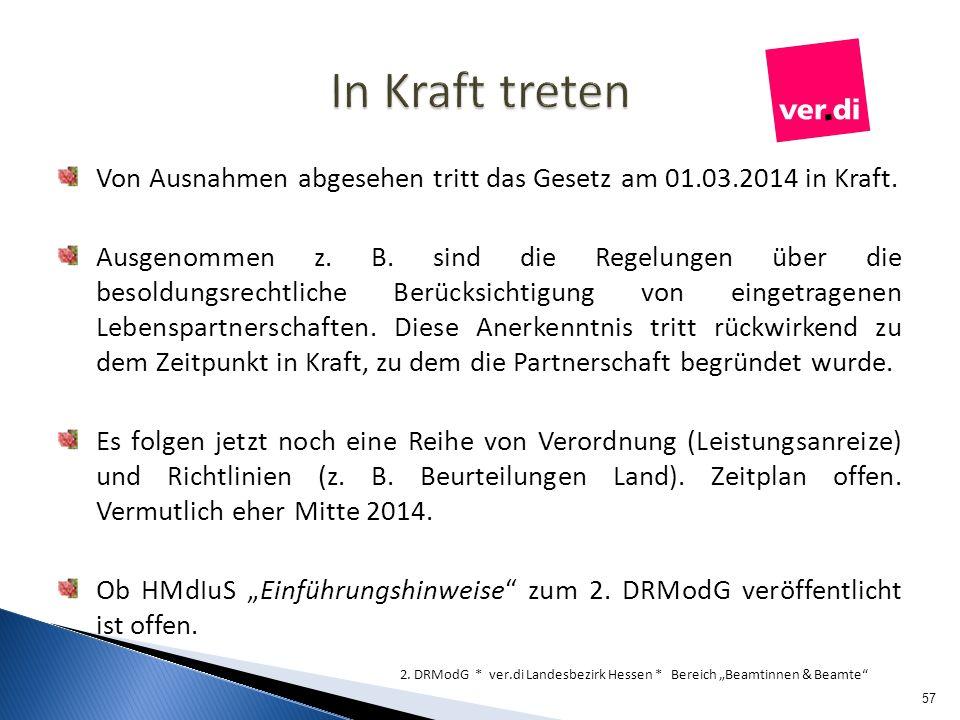 In Kraft treten Von Ausnahmen abgesehen tritt das Gesetz am 01.03.2014 in Kraft.