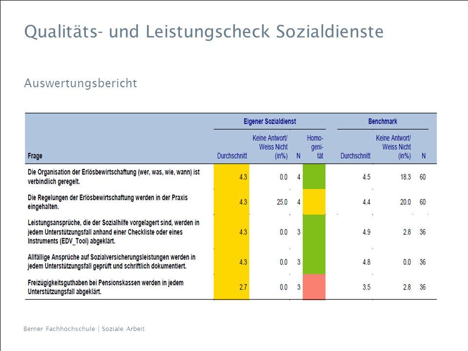 Qualitäts- und Leistungscheck Sozialdienste