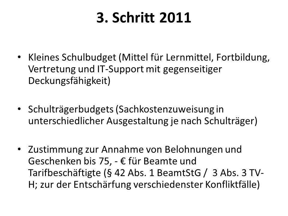 3. Schritt 2011 Kleines Schulbudget (Mittel für Lernmittel, Fortbildung, Vertretung und IT-Support mit gegenseitiger Deckungsfähigkeit)