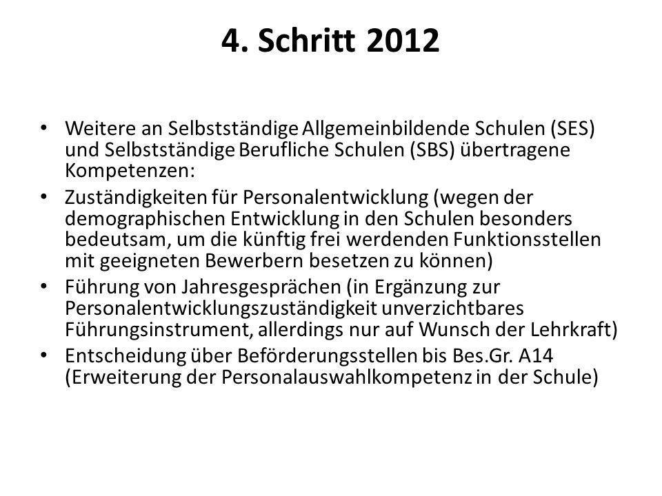 4. Schritt 2012 Weitere an Selbstständige Allgemeinbildende Schulen (SES) und Selbstständige Berufliche Schulen (SBS) übertragene Kompetenzen: