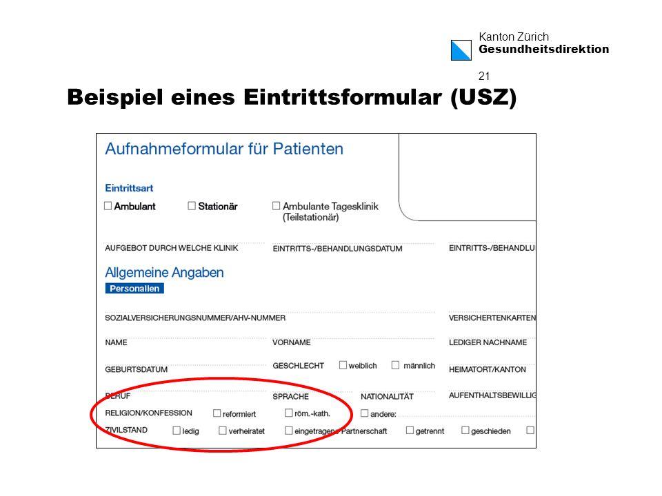 Beispiel eines Eintrittsformular (USZ)