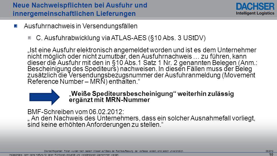 Neue Nachweispflichten bei Ausfuhr und