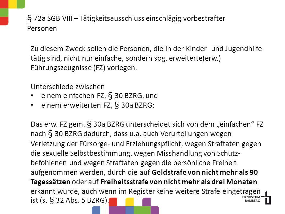 § 72a SGB VIII – Tätigkeitsausschluss einschlägig vorbestrafter Personen