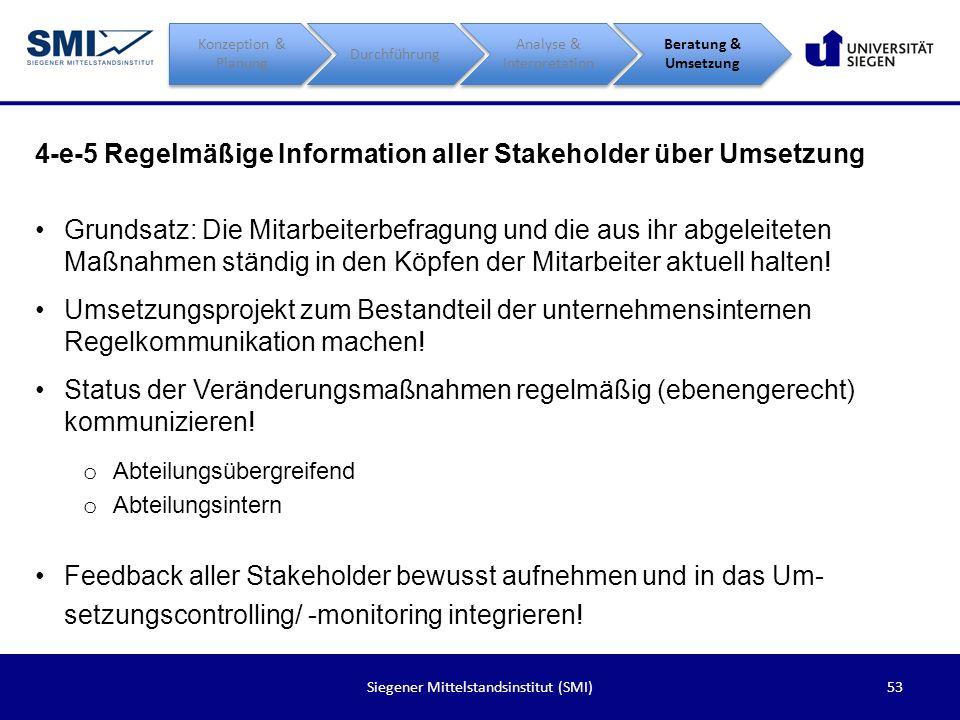 4-e-5 Regelmäßige Information aller Stakeholder über Umsetzung