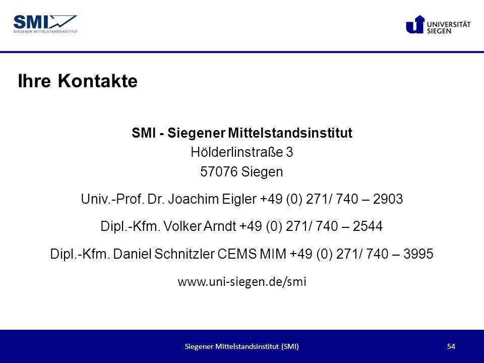 Ihre Kontakte SMI - Siegener Mittelstandsinstitut Hölderlinstraße 3 57076 Siegen. Univ.-Prof. Dr. Joachim Eigler +49 (0) 271/ 740 – 2903.