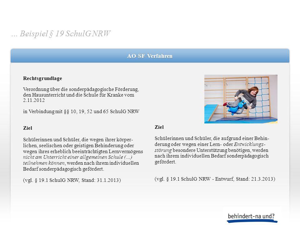 … Beispiel § 19 SchulG NRW AO-SF-Verfahren Rechtsgrundlage