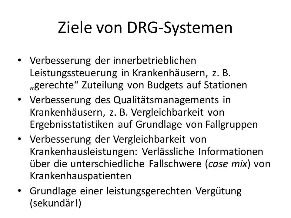 Ziele von DRG-Systemen