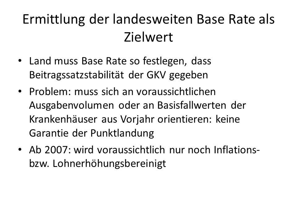 Ermittlung der landesweiten Base Rate als Zielwert
