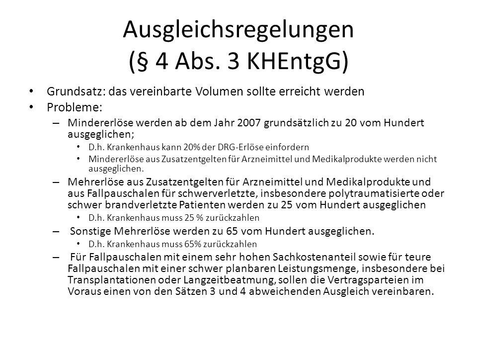 Ausgleichsregelungen (§ 4 Abs. 3 KHEntgG)