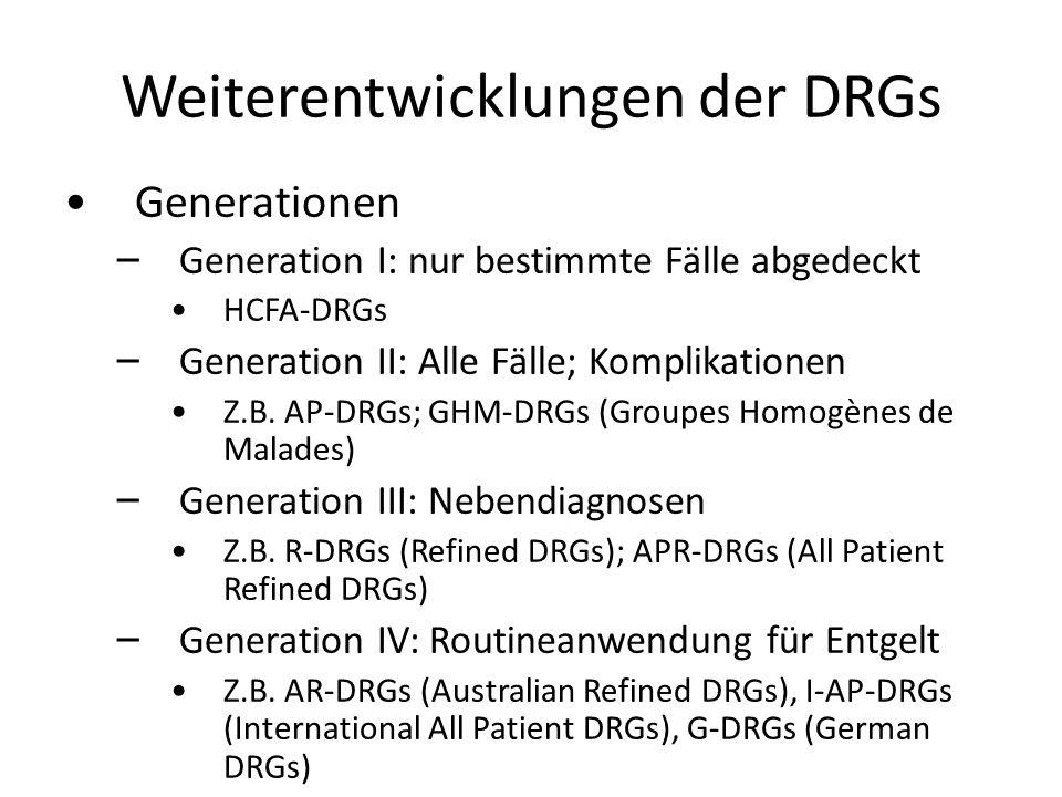 Weiterentwicklungen der DRGs
