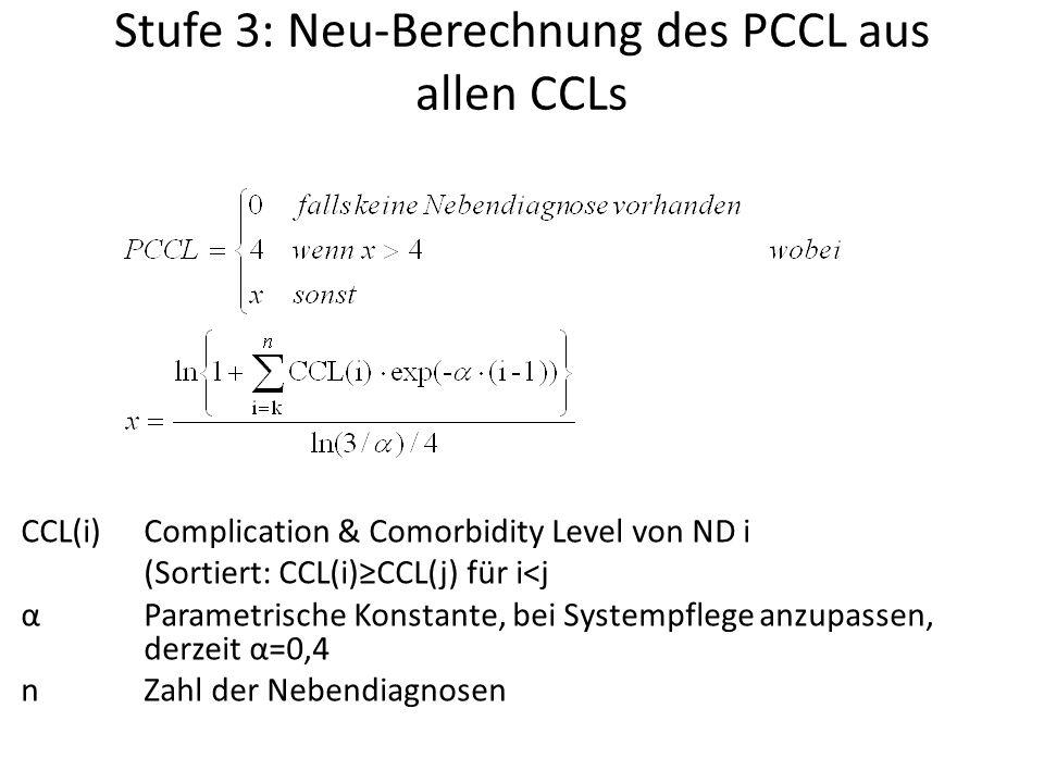 Stufe 3: Neu-Berechnung des PCCL aus allen CCLs