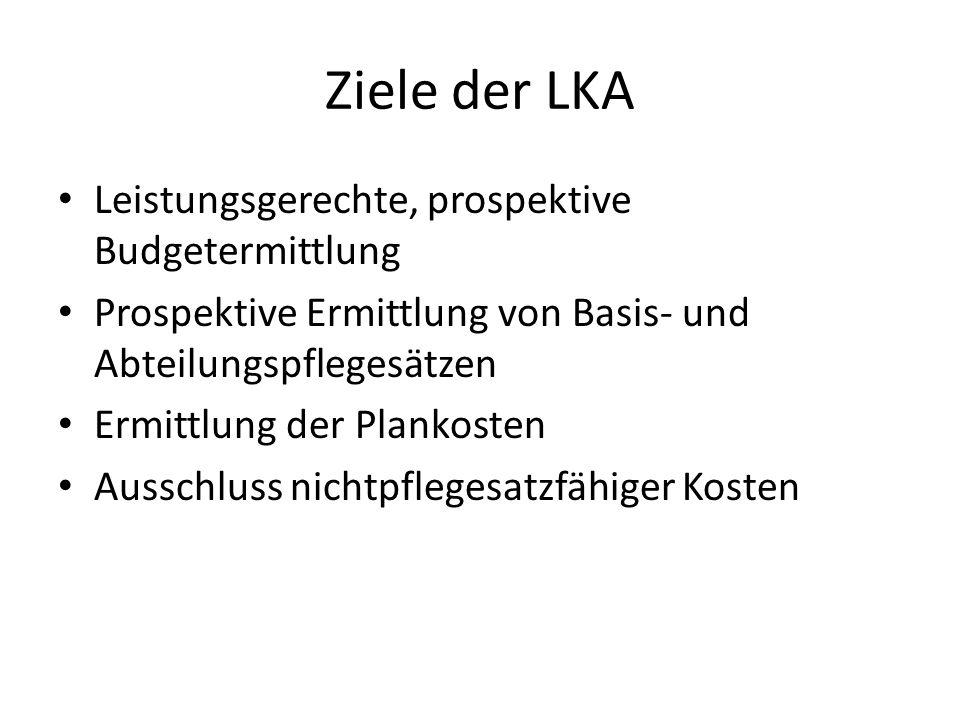 Ziele der LKA Leistungsgerechte, prospektive Budgetermittlung
