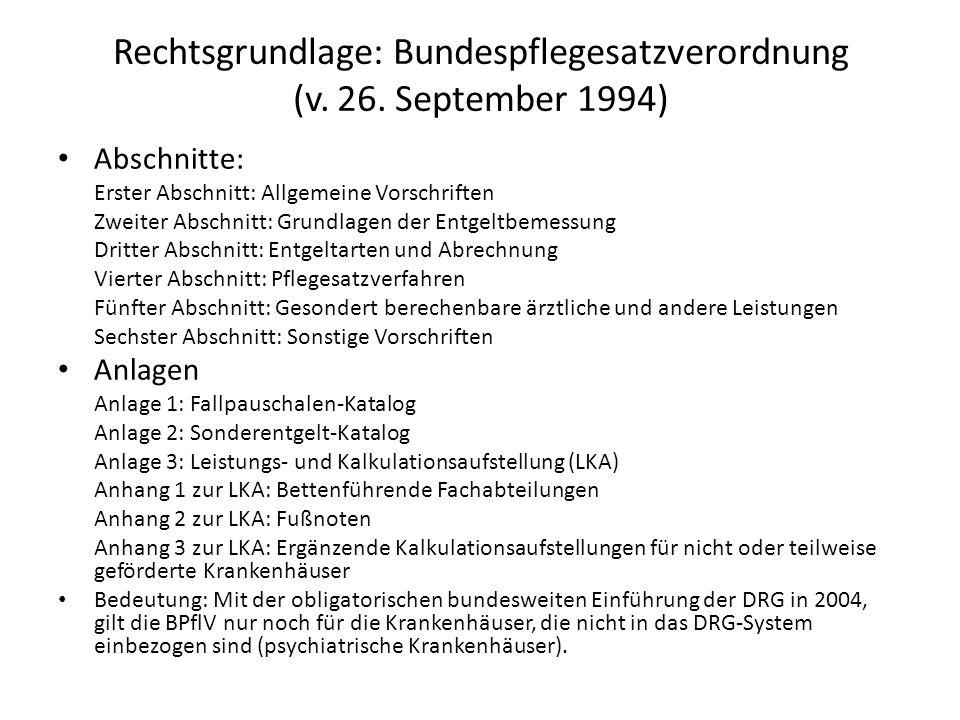 Rechtsgrundlage: Bundespflegesatzverordnung (v. 26. September 1994)