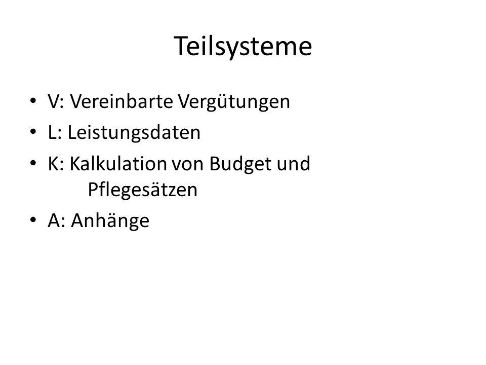 Teilsysteme V: Vereinbarte Vergütungen L: Leistungsdaten