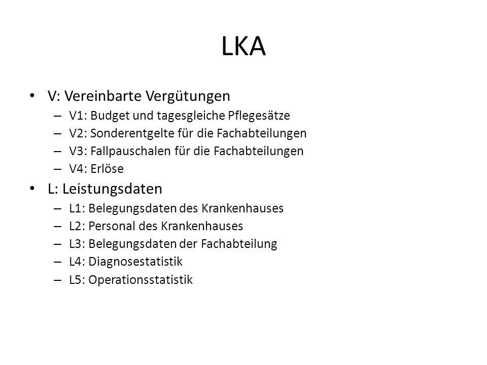 LKA V: Vereinbarte Vergütungen L: Leistungsdaten
