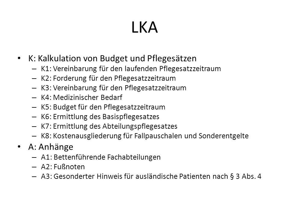 LKA K: Kalkulation von Budget und Pflegesätzen A: Anhänge