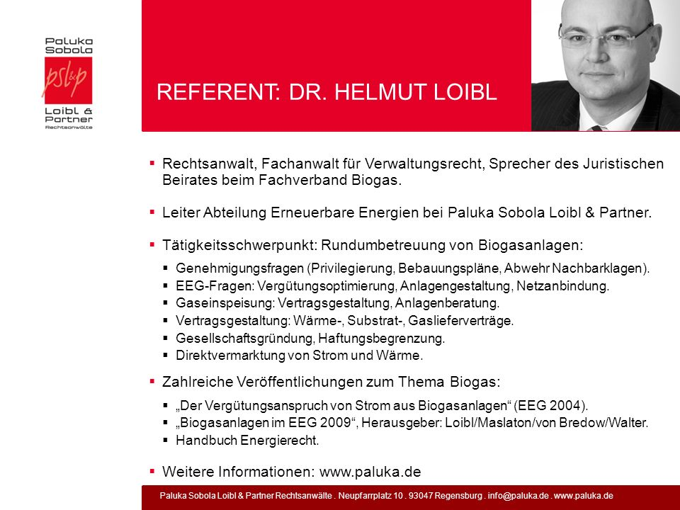 REFERENT: DR. HELMUT LOIBL