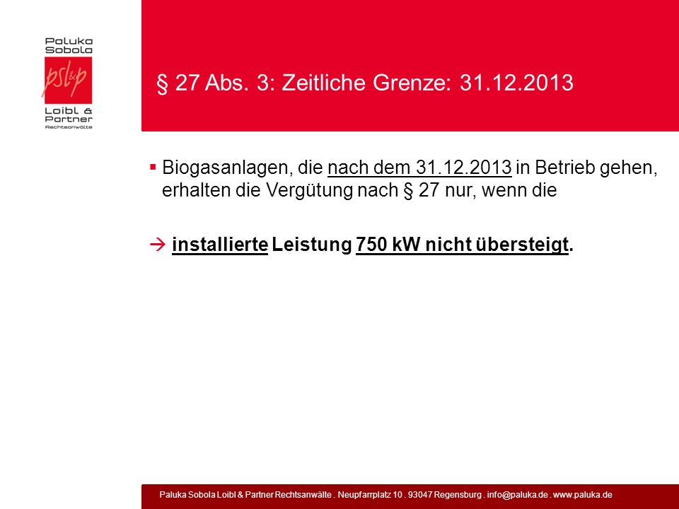 § 27 Abs. 3: Zeitliche Grenze: 31.12.2013
