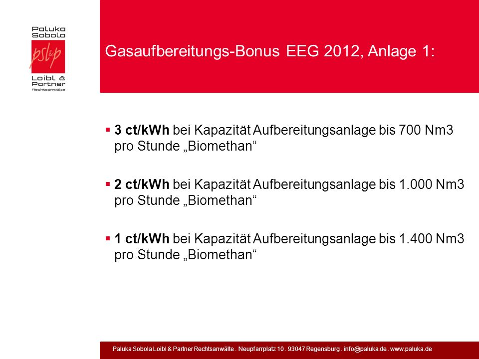 Gasaufbereitungs-Bonus EEG 2012, Anlage 1: