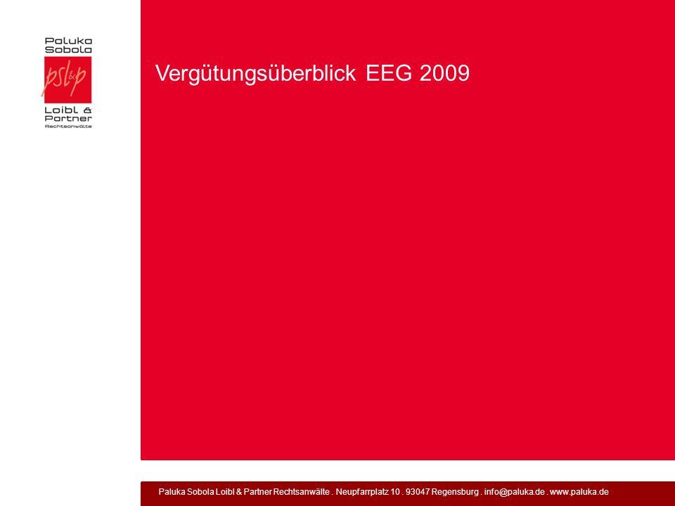 Vergütungsüberblick EEG 2009