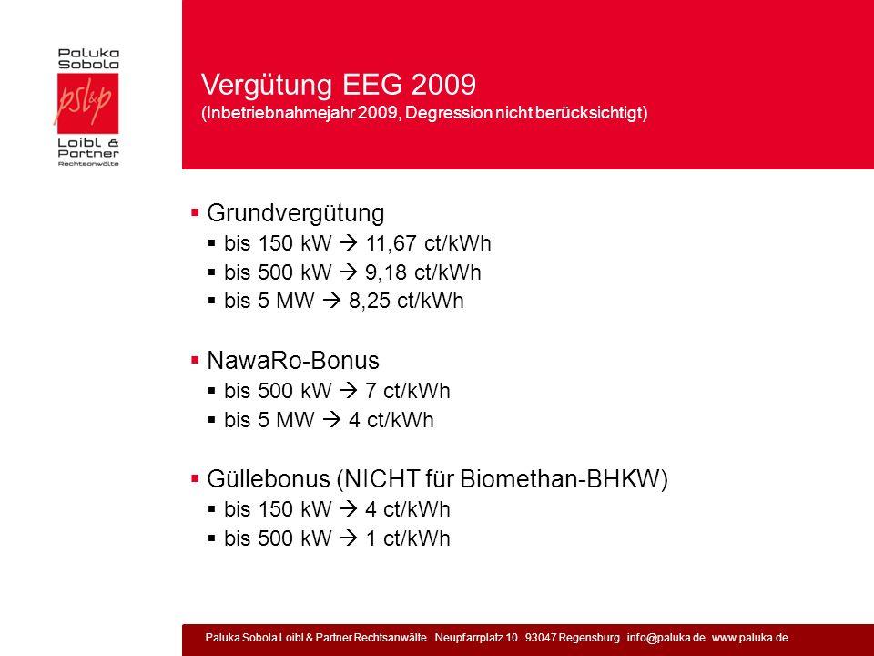 Vergütung EEG 2009 (Inbetriebnahmejahr 2009, Degression nicht berücksichtigt)