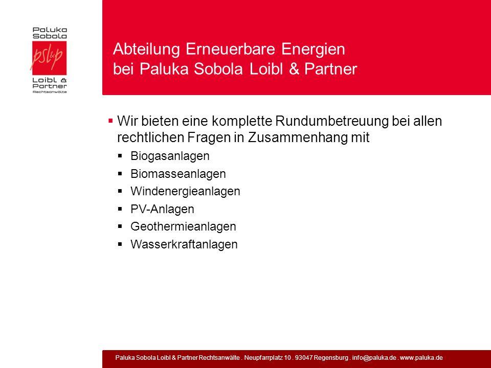 Abteilung Erneuerbare Energien bei Paluka Sobola Loibl & Partner