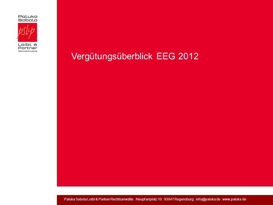 Vergütungsüberblick EEG 2012