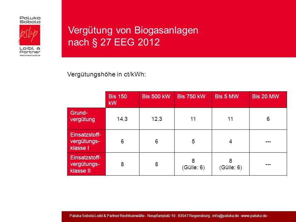 Vergütung von Biogasanlagen nach § 27 EEG 2012