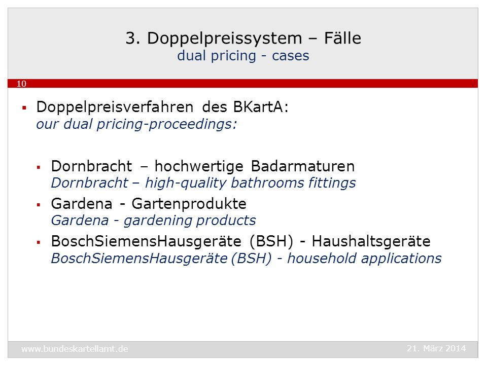3. Doppelpreissystem – Fälle dual pricing - cases