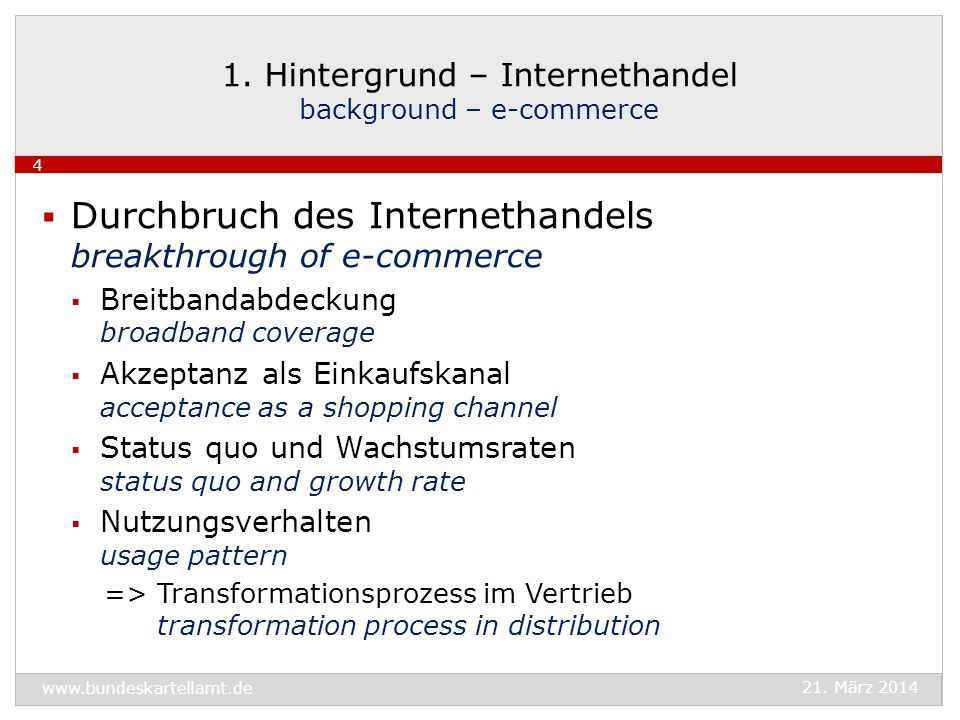 1. Hintergrund – Internethandel background – e-commerce