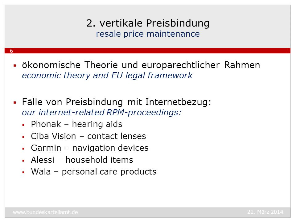 2. vertikale Preisbindung resale price maintenance