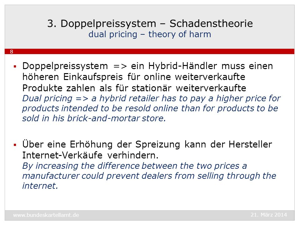 3. Doppelpreissystem – Schadenstheorie dual pricing – theory of harm