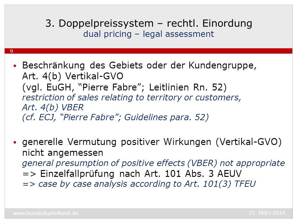 3. Doppelpreissystem – rechtl