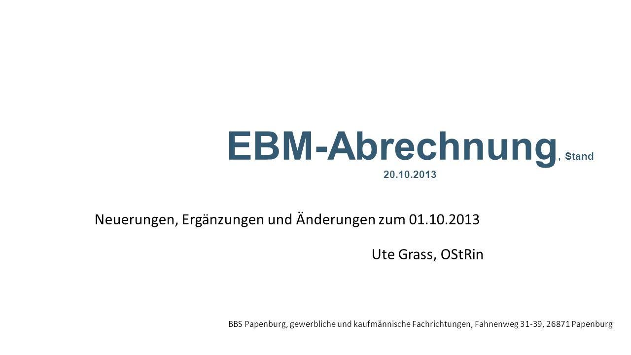 Neuerungen, Ergänzungen und Änderungen zum 01.10.2013
