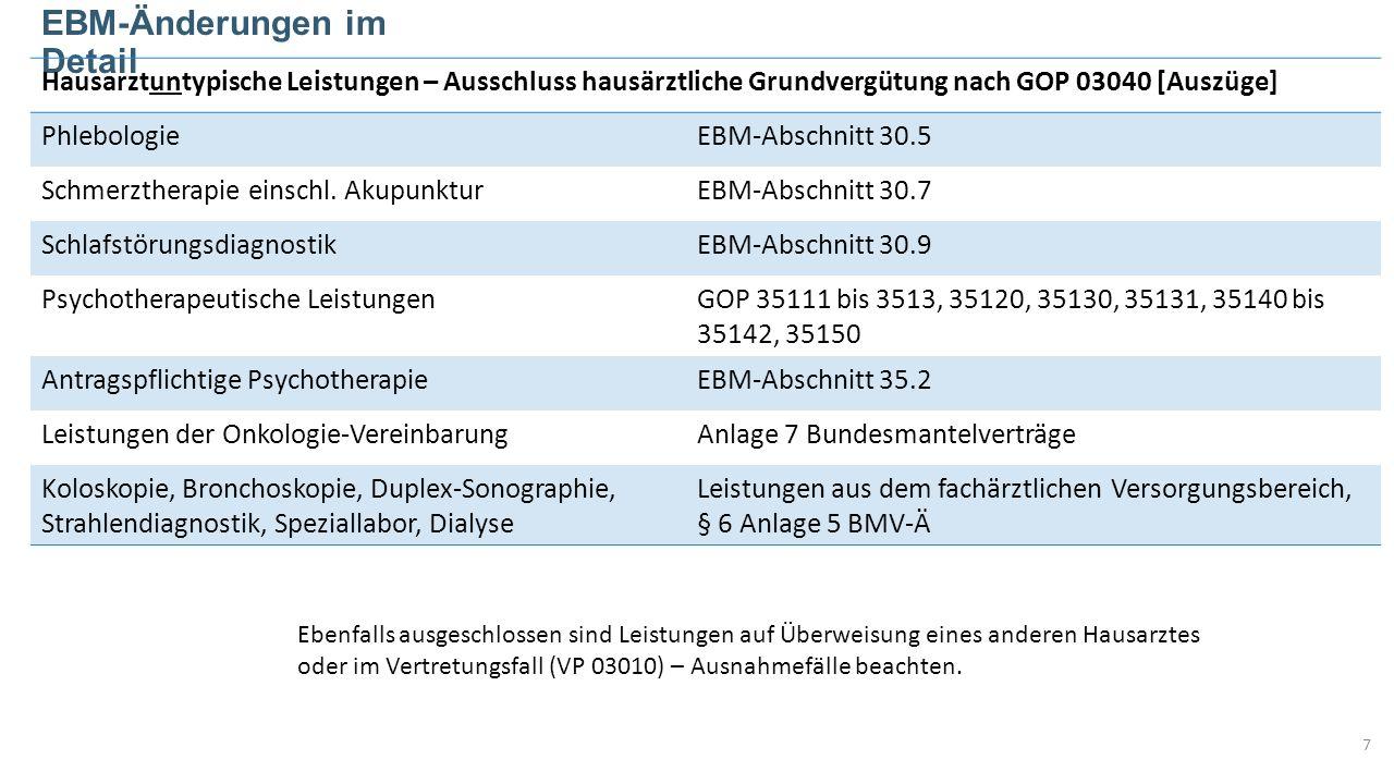 EBM-Änderungen im Detail