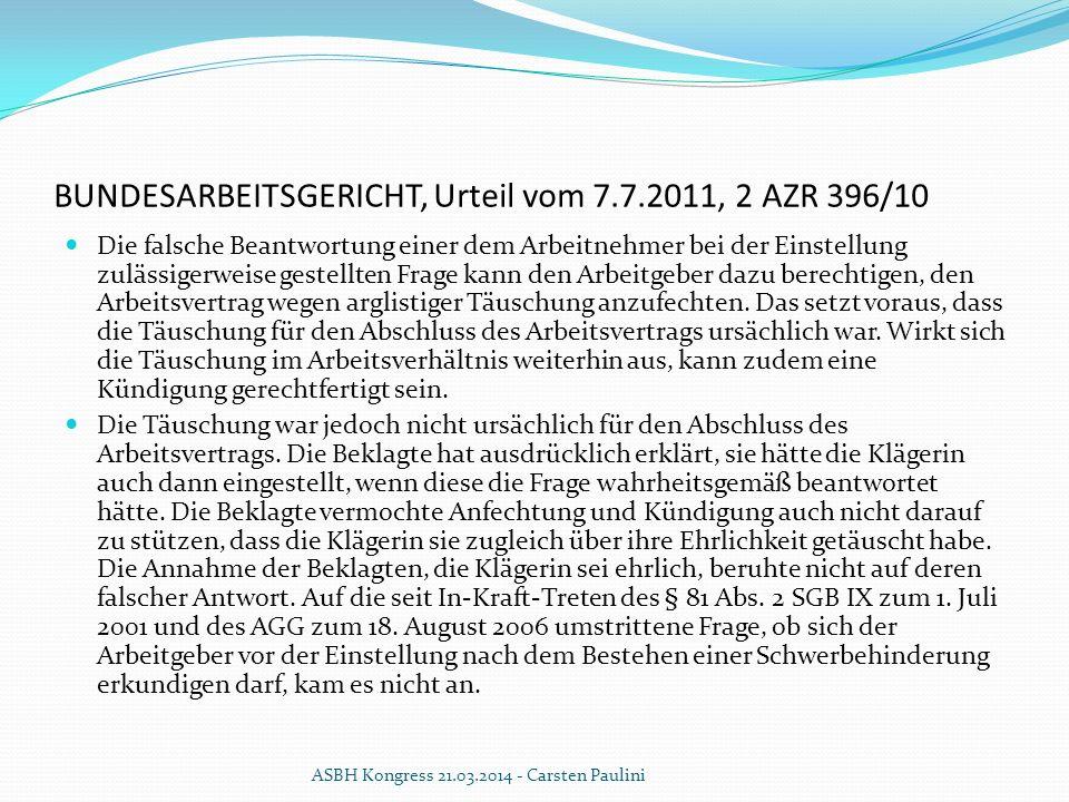BUNDESARBEITSGERICHT, Urteil vom 7.7.2011, 2 AZR 396/10