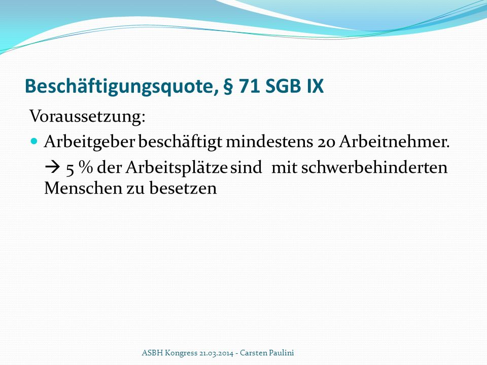 Beschäftigungsquote, § 71 SGB IX