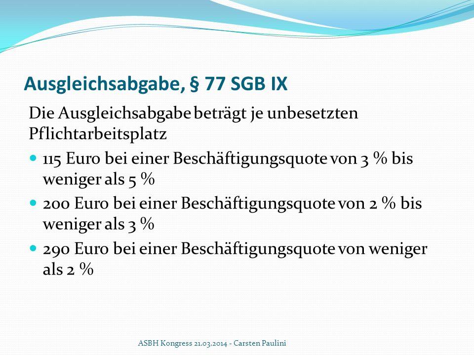 Ausgleichsabgabe, § 77 SGB IX