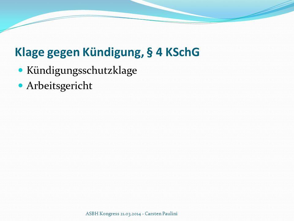 Klage gegen Kündigung, § 4 KSchG