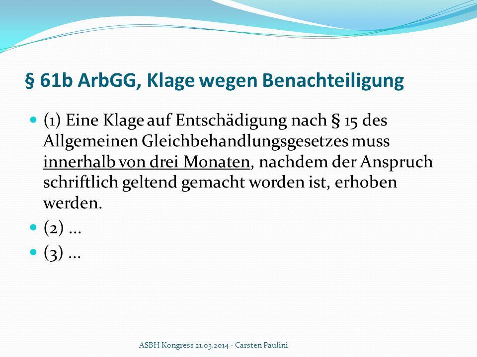 § 61b ArbGG, Klage wegen Benachteiligung